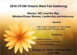 CFUW Ontario West Fall Gathering Announcement